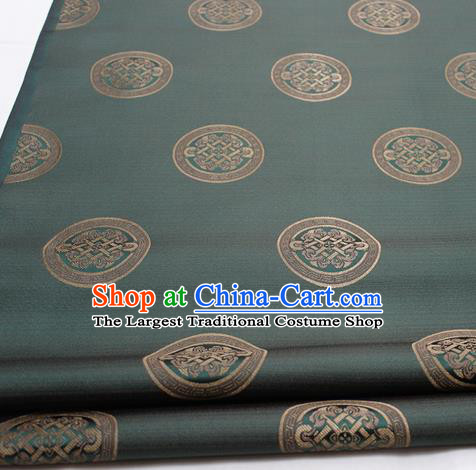 Chinese Traditional Tang Suit Fabric Royal Lucky Pattern Atrovirens Brocade Material Hanfu Classical Satin Silk Fabric