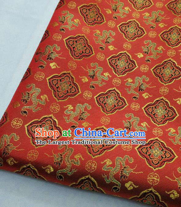Chinese Traditional Tang Suit Satin Fabric Royal Dragons Pattern Red Brocade Material Classical Silk Fabric