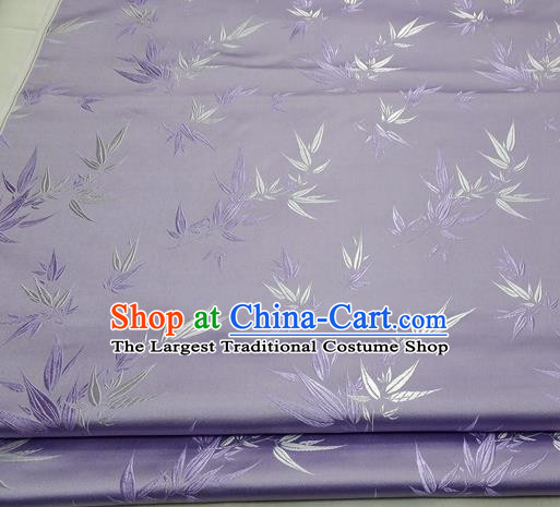 Chinese Traditional Tang Suit Satin Fabric Royal Bamboo Pattern Purple Brocade Material Classical Silk Fabric