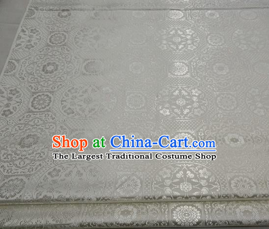 Chinese Traditional Tang Suit White Satin Fabric Royal Pattern Brocade Material Classical Silk Fabric