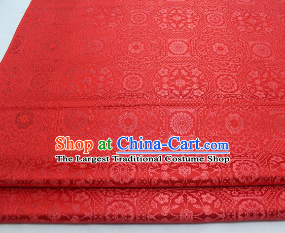 Chinese Traditional Tang Suit Red Satin Fabric Royal Pattern Brocade Material Classical Silk Fabric