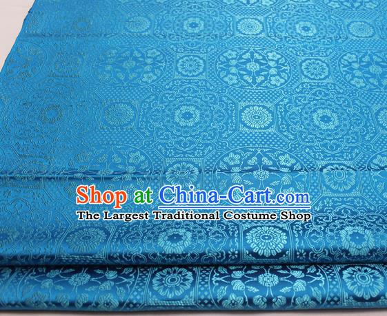 Chinese Traditional Tang Suit Blue Satin Fabric Royal Pattern Brocade Material Classical Silk Fabric