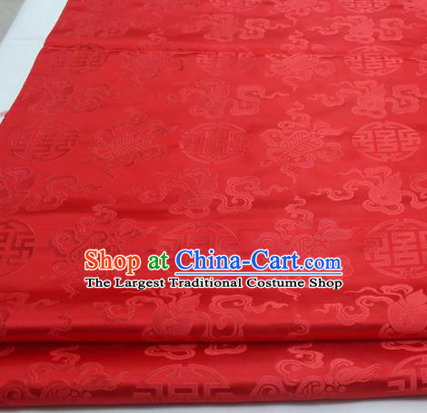 Chinese Traditional Tang Suit Satin Fabric Royal Calabash Pattern Red Brocade Material Classical Silk Fabric