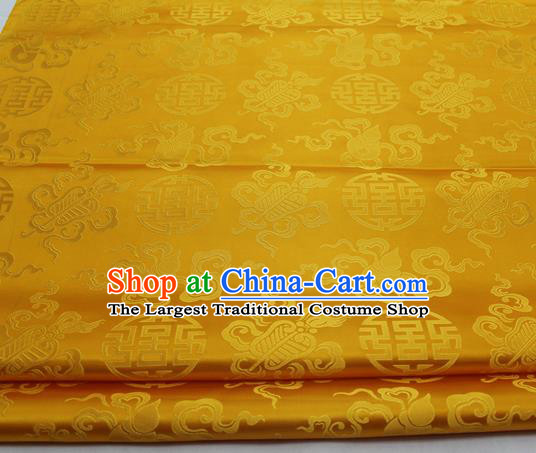 Chinese Traditional Tang Suit Satin Fabric Royal Calabash Pattern Golden Brocade Material Classical Silk Fabric