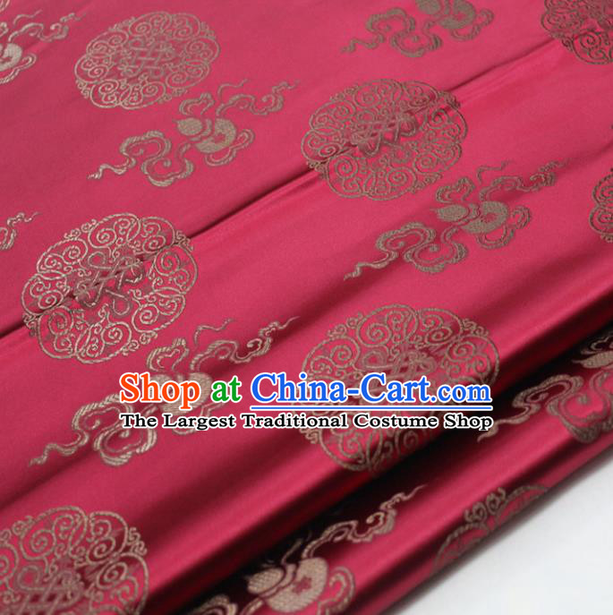 Chinese Traditional Tang Suit Wine Red Brocade Royal Happiness Calabash Pattern Satin Fabric Material Classical Silk Fabric