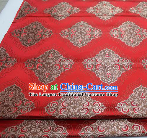 Chinese Traditional Tang Suit Red Brocade Royal Pattern Satin Fabric Material Classical Silk Fabric