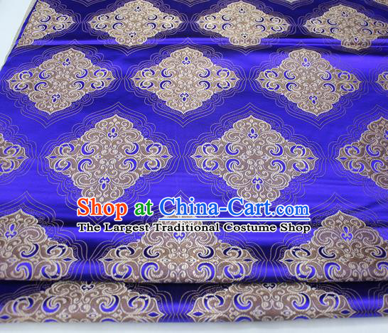 Chinese Traditional Tang Suit Royalblue Brocade Royal Pattern Satin Fabric Material Classical Silk Fabric