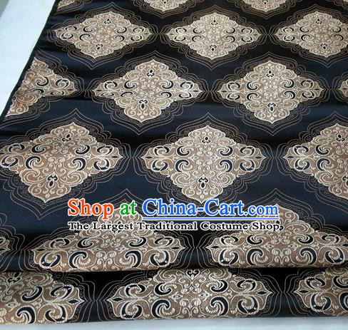 Chinese Traditional Tang Suit Black Brocade Royal Pattern Satin Fabric Material Classical Silk Fabric