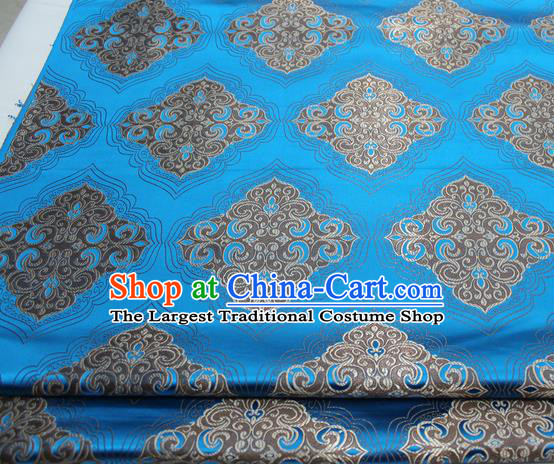 Chinese Traditional Tang Suit Blue Brocade Royal Pattern Satin Fabric Material Classical Silk Fabric