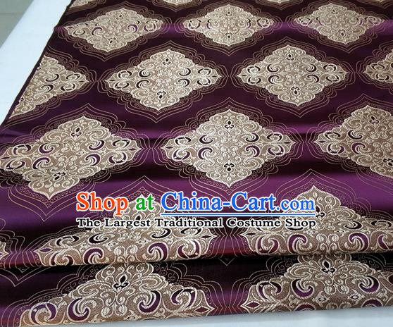 Chinese Traditional Tang Suit Purple Brocade Royal Pattern Satin Fabric Material Classical Silk Fabric
