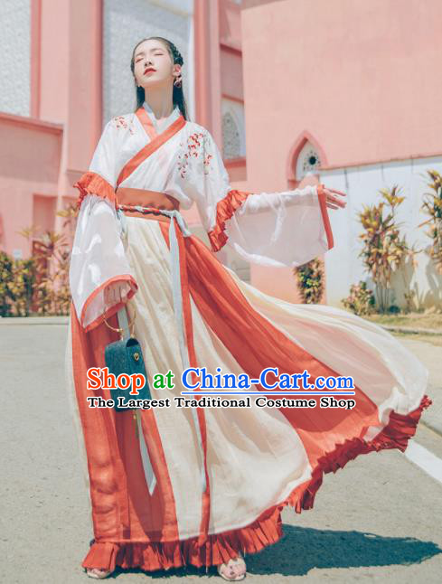 Chinese Traditional Tang Dynasty Imperial Consort Embroidered Hanfu Dress Ancient Peri Historical Costume for Women
