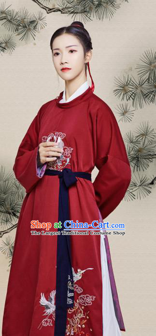 Chinese Traditional Ancient Swordswoman Embroidered Red Robe Song Dynasty Imperial Bodyguard Historical Costume for Women
