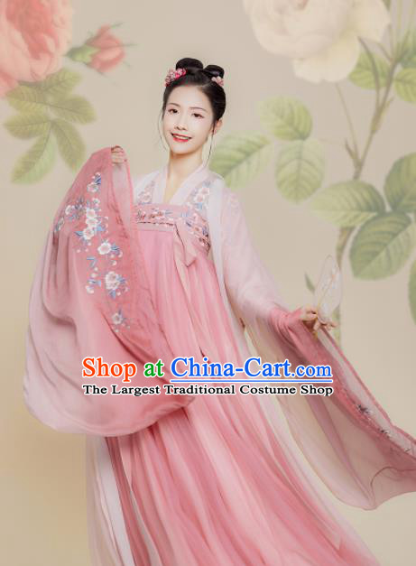 Chinese Traditional Ancient Peri Embroidered Pink Hanfu Dress Tang Dynasty Imperial Princess Historical Costume for Women