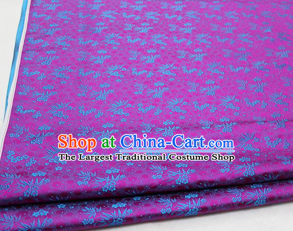 Asian Chinese Traditional Tang Suit Royal Plum Blossom Bamboo Pattern Rosy Brocade Satin Fabric Material Classical Silk Fabric