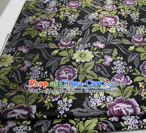 Asian Chinese Traditional Tang Suit Royal Peony Flowers Pattern Black Brocade Satin Fabric Material Classical Silk Fabric