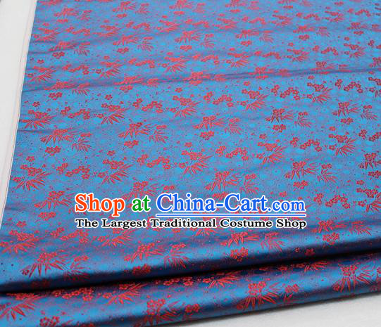 Asian Chinese Traditional Tang Suit Royal Plum Blossom Bamboo Pattern Blue Brocade Satin Fabric Material Classical Silk Fabric