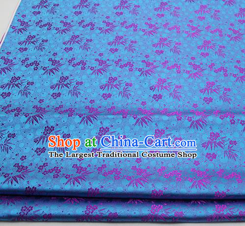 Asian Chinese Traditional Tang Suit Royal Plum Blossom Bamboo Pattern Lake Blue Brocade Satin Fabric Material Classical Silk Fabric