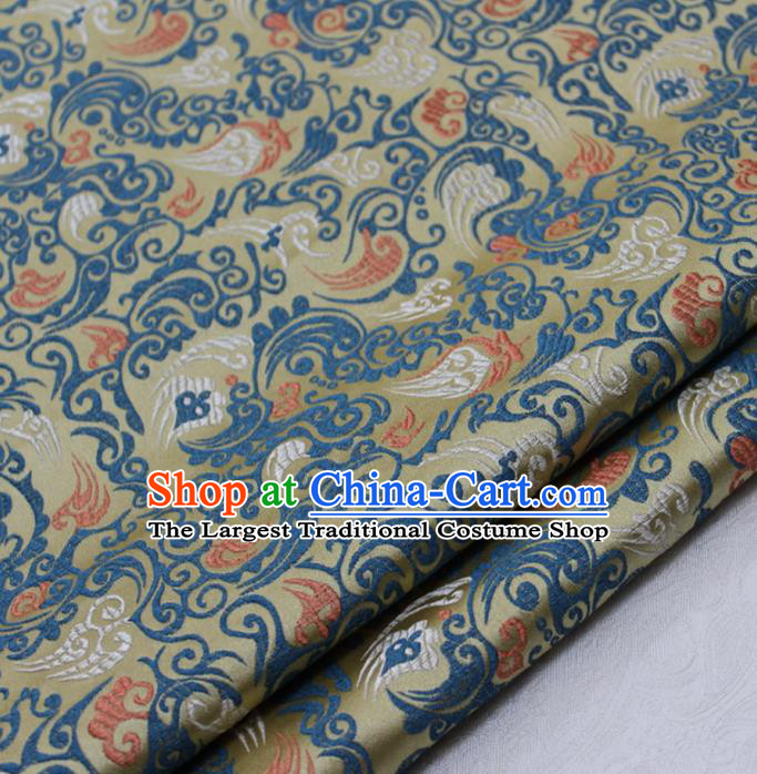 Asian Chinese Traditional Tang Suit Royal Pattern Golden Brocade Satin Fabric Material Classical Silk Fabric