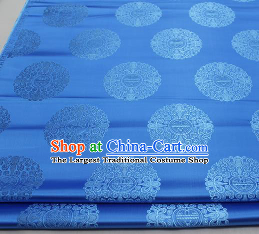 Asian Chinese Traditional Tang Suit Royal Round Pattern Blue Brocade Satin Fabric Material Classical Silk Fabric