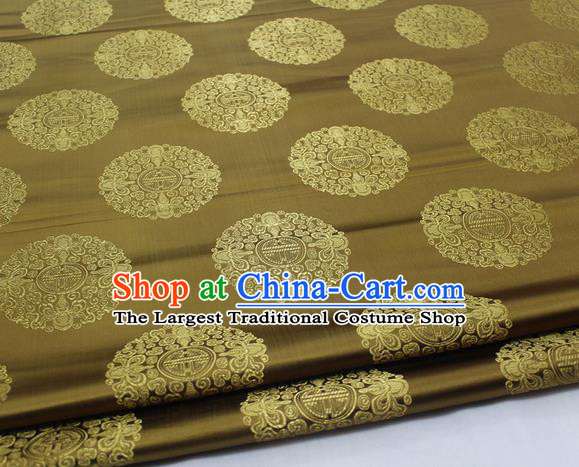 Asian Chinese Traditional Tang Suit Royal Round Pattern Bronze Brocade Satin Fabric Material Classical Silk Fabric