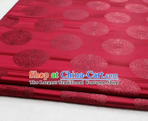 Asian Chinese Traditional Tang Suit Royal Round Pattern Purplish Red Brocade Satin Fabric Material Classical Silk Fabric