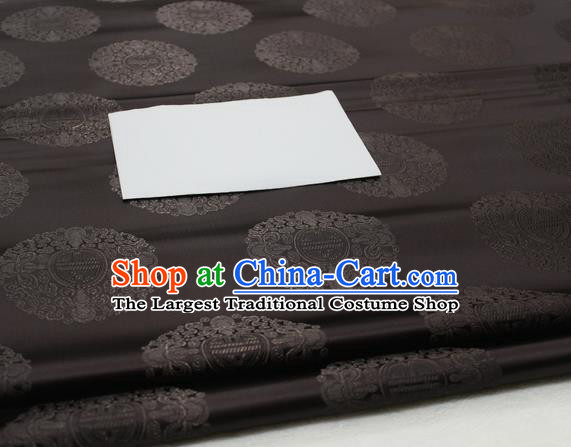 Asian Chinese Traditional Tang Suit Royal Round Pattern Black Brocade Satin Fabric Material Classical Silk Fabric
