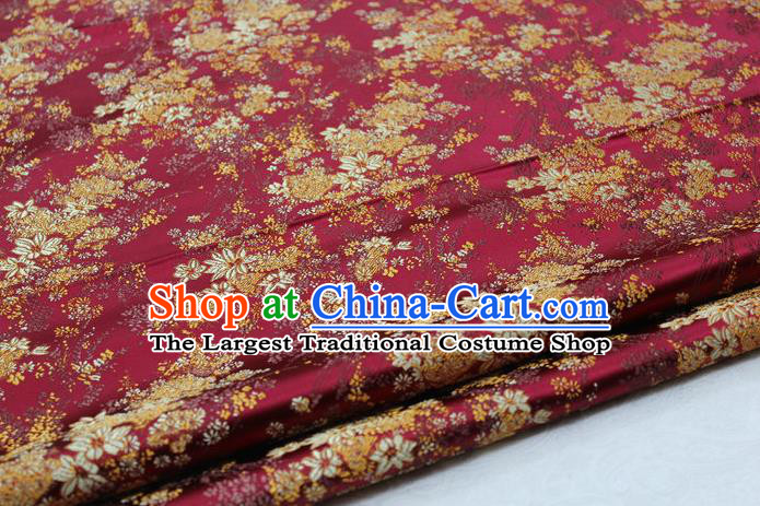 Asian Chinese Traditional Tang Suit Royal Cherry Blossom Pattern Purplish Red Brocade Satin Fabric Material Classical Silk Fabric