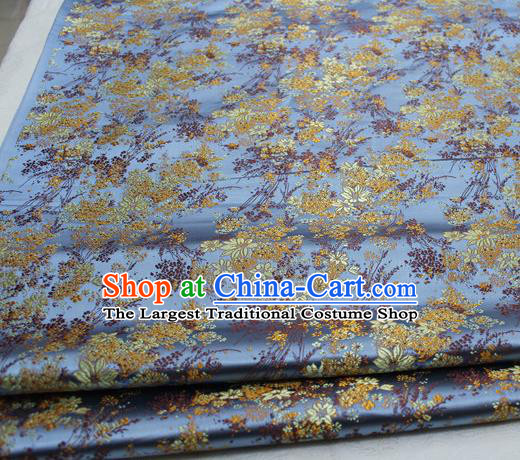 Asian Chinese Traditional Tang Suit Royal Cherry Blossom Pattern Light Blue Brocade Satin Fabric Material Classical Silk Fabric
