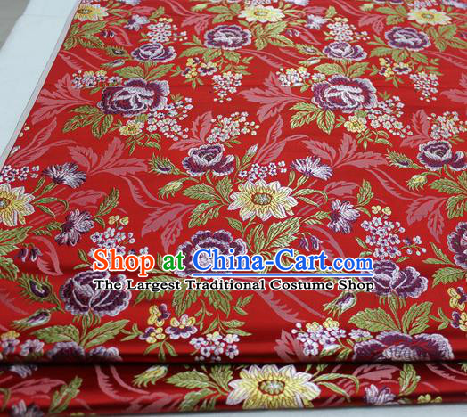 Asian Chinese Traditional Tang Suit Royal Peony Flowers Pattern Red Brocade Satin Fabric Material Classical Silk Fabric