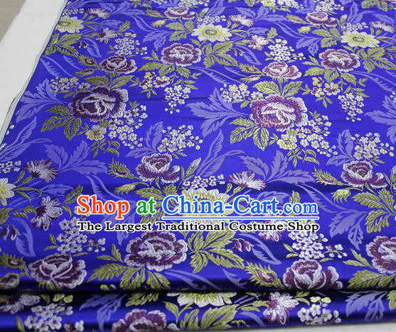 Asian Chinese Traditional Tang Suit Royal Peony Flowers Pattern Royalblue Brocade Satin Fabric Material Classical Silk Fabric