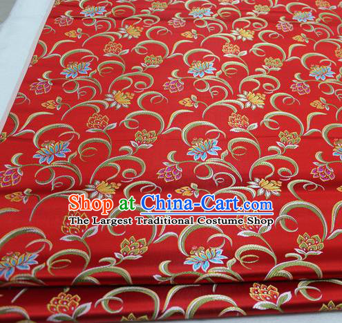 Asian Chinese Traditional Classical Twine Lotus Pattern Red Brocade Tang Suit Satin Fabric Material Classical Silk Fabric