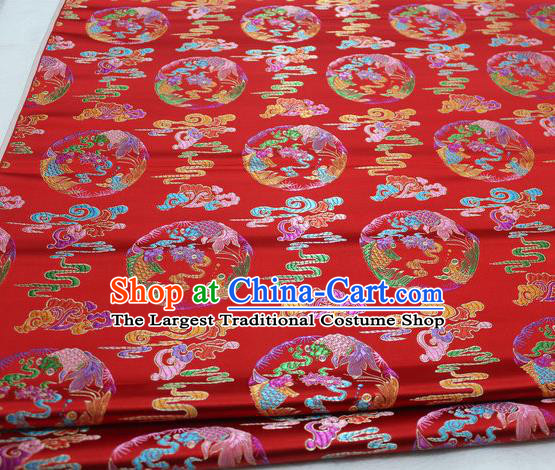 Asian Chinese Traditional Classical Phoenix Pattern Red Brocade Tang Suit Satin Fabric Material Classical Silk Fabric