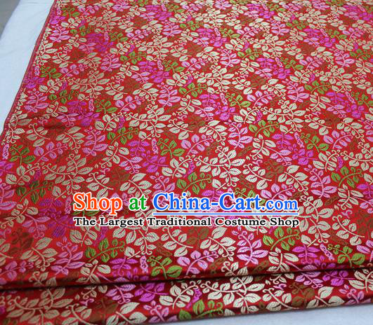 Asian Chinese Traditional Classical Leaf Pattern Red Brocade Tang Suit Satin Fabric Material Classical Silk Fabric