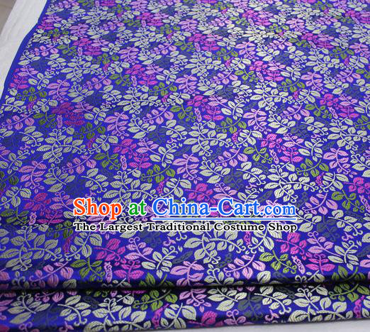Asian Chinese Traditional Classical Leaf Pattern Royalblue Brocade Tang Suit Satin Fabric Material Classical Silk Fabric