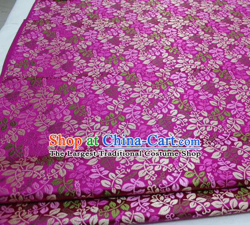 Asian Chinese Traditional Classical Leaf Pattern Rosy Brocade Tang Suit Satin Fabric Material Classical Silk Fabric