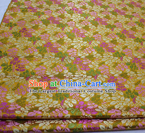 Asian Chinese Traditional Classical Leaf Pattern Golden Brocade Tang Suit Satin Fabric Material Classical Silk Fabric