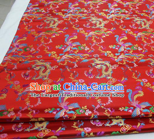Asian Chinese Traditional Classical Dragon Phoenix Pattern Red Brocade Tang Suit Satin Fabric Material Classical Silk Fabric