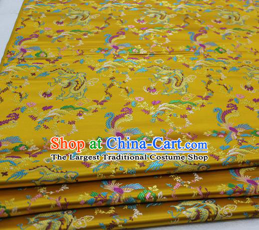 Asian Chinese Traditional Classical Dragon Phoenix Pattern Golden Brocade Tang Suit Satin Fabric Material Classical Silk Fabric