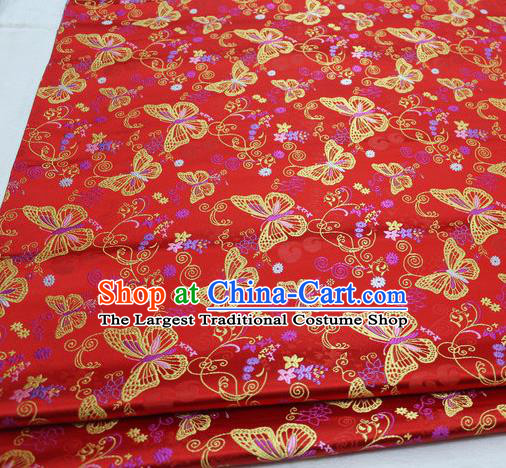 Asian Chinese Traditional Classical Butterfly Pattern Red Brocade Tang Suit Satin Fabric Material Classical Silk Fabric