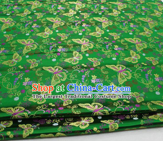 Asian Chinese Traditional Classical Butterfly Pattern Green Brocade Tang Suit Satin Fabric Material Classical Silk Fabric