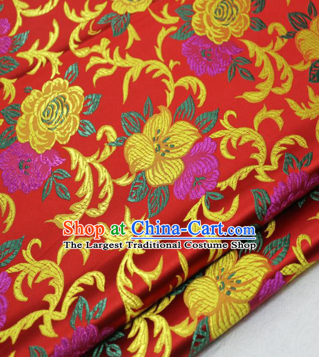 Asian Chinese Traditional Classical Begonia Pattern Red Brocade Tang Suit Satin Fabric Material Classical Silk Fabric