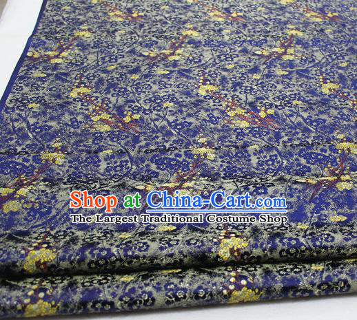 Asian Chinese Traditional Royal Pattern Royalblue Brocade Tang Suit Satin Fabric Material Classical Silk Fabric
