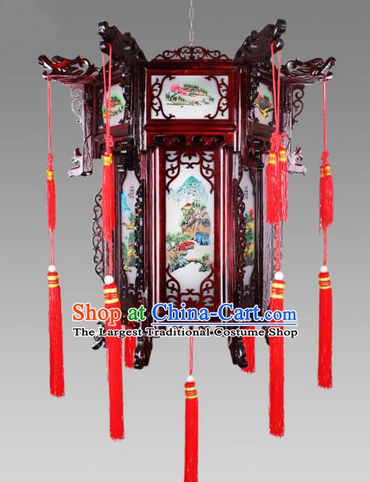Chinese Traditional Handmade Wood Palace Lantern Classical Hanging Lanterns Ceiling Lamp