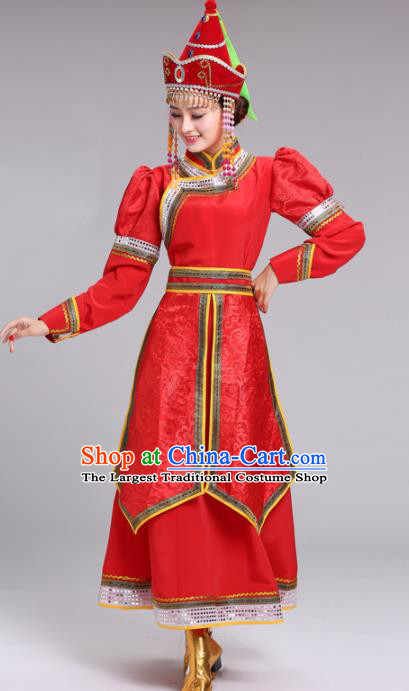 Chinese Mongolian Ethnic Folk Dance Red Dress Traditional Mongol Nationality Princess Costume for Women