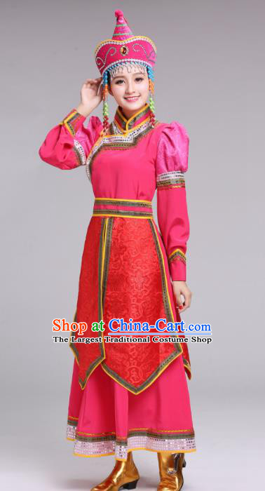 Chinese Mongolian Ethnic Folk Dance Rosy Dress Traditional Mongol Nationality Princess Costume for Women