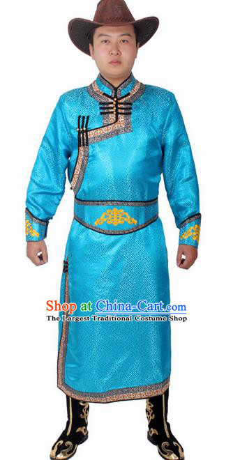 Chinese Ethnic Prince Costume Blue Mongolian Robe Traditional Mongol Nationality Folk Dance Clothing for Men
