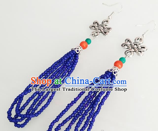 Traditional Chinese Mongol Nationality Blue Beads Ear Accessories Mongolian Ethnic Folk Dance Earrings for Women