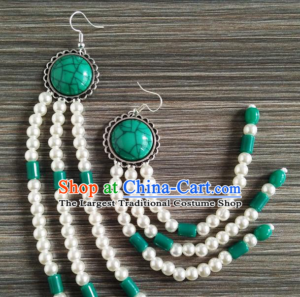Traditional Chinese Mongol Nationality Green Ear Accessories Mongolian Ethnic Folk Dance Earrings for Women