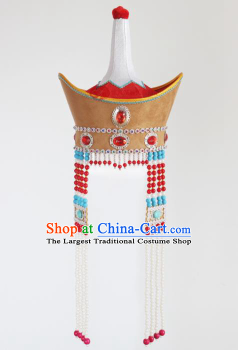 Chinese Mongolian Ethnic Hair Accessories Traditional Mongol Nationality Princess Folk Dance Tassel Hat for Kids
