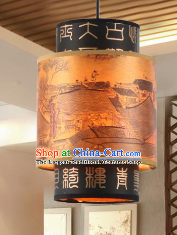 Chinese Traditional Yellow Ceiling Palace Lantern Handmade New Year Classical Lanterns Hanging Lamp